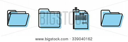 Set line File document and binder clip, Document folder, Document folder and Document folder icon. Vector stock photo