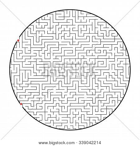 Difficult round labyrinth. Game for kids and adults. Puzzle for children. Labyrinth conundrum. Flat vector illustration isolated on white background stock photo