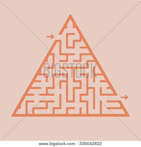 Abstract triangular labyrinth. Game for kids. Puzzle for children. One entrance, one exit. Labyrinth conundrum. Flat vector illustration isolated on color background stock photo