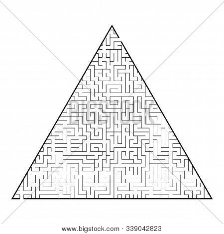 Difficult triangular labyrinth. Game for kids and adults. Puzzle for children. One entrance, one exit. Labyrinth conundrum. Flat vector illustration isolated on white background stock photo