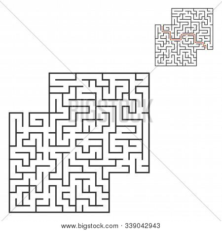 Abstract square maze. Game for kids. Puzzle for children. Labyrinth conundrum. Flat vector illustration isolated on white background. With answer. With place for your image. stock photo