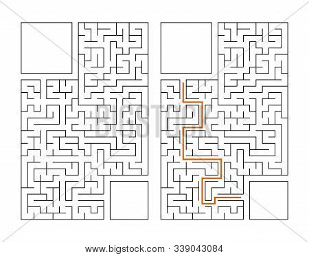Abstract rectangular maze. Game for kids. Puzzle for children. Labyrinth conundrum. Flat vector illustration isolated on white background. With answer. With place for your image stock photo