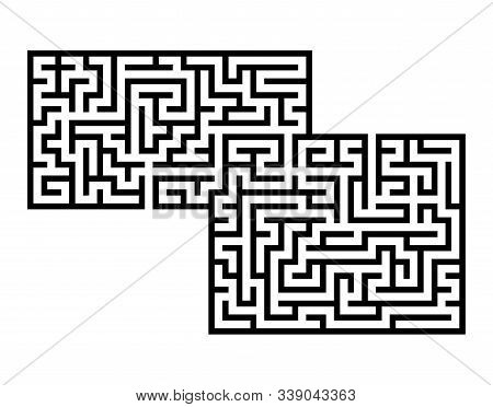 Abstract rectangular maze. Game for kids. Puzzle for children. Labyrinth conundrum. Flat vector illustration isolated on white background. With place for your image stock photo