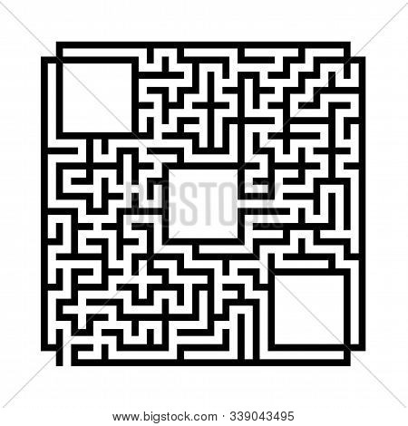 Abstract square maze. Game for kids. Puzzle for children.Labyrinth conundrum. Flat vector illustration isolated on white background. With place for your image stock photo