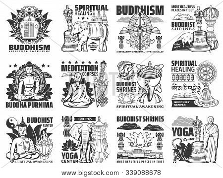 Buddhism vector icons, yoga center and meditation courses signs. Buddha stupa shrines, religious symbols of mudra hand, lotus and monk beads, Tibet Buddhism temples ans spiritual healing stock photo
