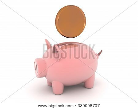 3D Rendering of piggy bank with coin above it. 3D Rendering Isolated on white. stock photo