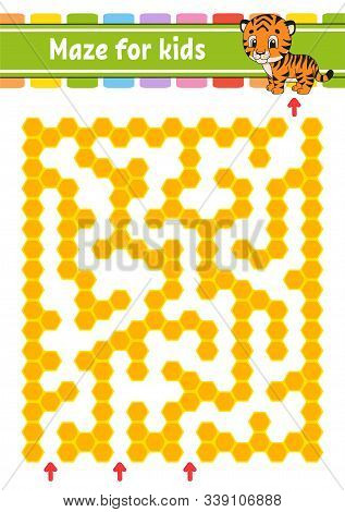 Maze. Game for kids. Funny labyrinth. Education developing worksheet. Activity page. Puzzle for children. Cute cartoon style. Riddle for preschool. Logical conundrum. Color vector illustration. stock photo