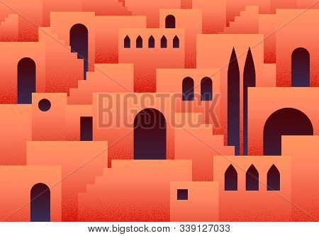 Abstract flat background with eastern, arabic or muslim ancient city with arches and step ladders in lush lava color stock photo