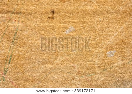 Aged paper texture. Yellow old blank sheet from an ancient book. Background stock photo