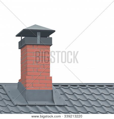 Red Brick Chimney, Grey Steel Tile Roof Texture, Isolated Tiled Roofing, Large Detailed Vertical Closeup, Modern Residential House Rooftop Tiles Detail Textured Pattern, Property Concept Real Estate Metaphor stock photo