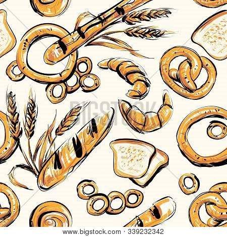 Seamless background on which bread, rolls, pretzels, bagels, wheat Spikelets, rye spikelets. stock photo
