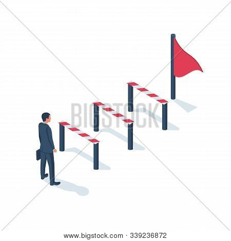 Conquering adversity. Hurdle on way concept. Businessman obstacle metaphor. Overcoming obstacle on road. Barrier on way to success. Vector illustration isometric 3d design. Isolated white background. stock photo