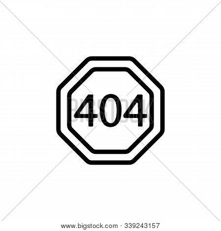 Error 404 vector icon. A thin line sign. Isolated contour symbol illustration stock photo