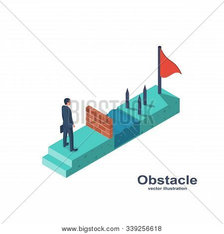 Businessman obstacle metaphor. Conquering adversity. Hurdle on way concept. Overcoming obstacle on road. Vector illustration 3d isometric design. Barrier on way to success. Flag to finish finish line. stock photo