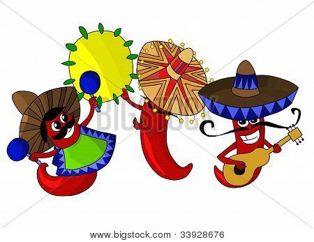 Funnny music band of three hot mexican chilli peppers. stock photo