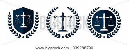 Law firm logo set. Law office logotypes set with scales of justice. Symbols of legal centers or law advocates. Scales of justice icons. stock photo