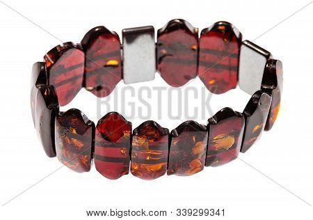 bracelet from polished amber pieces isolated on white background stock photo