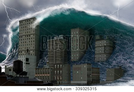 Apocalyptic dramatic scene, a giant tsunami tidal wave crashing a coastal town, natural disaster catastrophe, 3d render stock photo