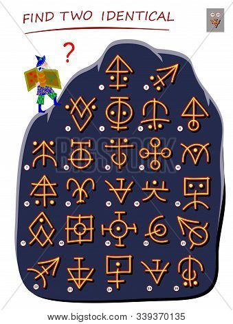 Logic puzzle game for children and adults. Help the wizard find 2 identical ancient magic signs. Printable page for kids brain teaser book. Developing spatial thinking skills. IQ test. Vector image. stock photo