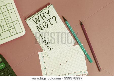 Handwriting text Why Notquestion. Concept meaning it is used to make a suggestion or to express agreement Writing equipments and computer stuffs placed above colored plain table. stock photo