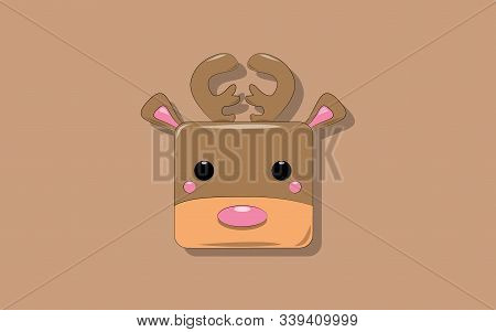 brown cubic cartoon deer vector illustration with horns and blush on cheeks on a light brown background. stock photo