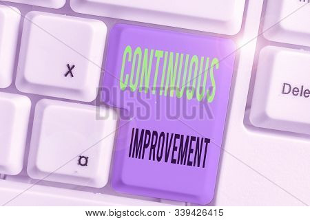 Conceptual hand writing showing Continuous Improvement. Business photo showcasing ongoing effort to improve products or processes. stock photo