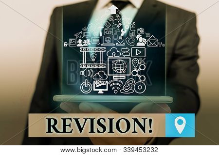 Handwriting text Revision. Concept meaning action of revising over someone like auditing or accounting. stock photo