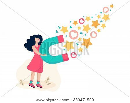 Business woman attracting likes signs with a huge magnet. Lead magnet. Social media marketing concept. Blogger get followers, likes and feedback. Lead generation. Audience or customer retention. stock photo