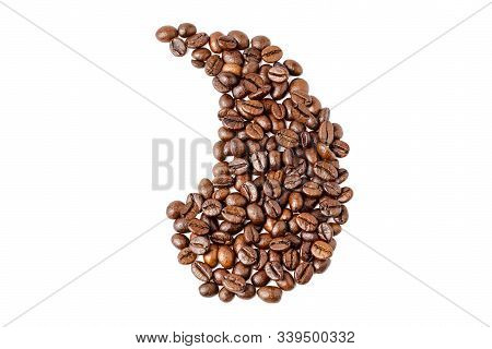 coffee beans on an isolated white background in the form of an apostrophe. Coffee beans. Isolated on a white background. stock photo