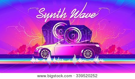horizontal poster, in the style of vaporwave Synthwave retrowave, retro 80s, car with huge speakers and sound waves stock photo