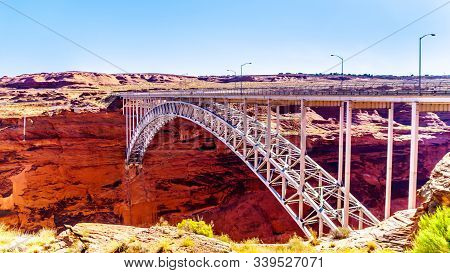 The Glen Canyon Bridge over the Colorado River viewed from the Glen Canyon Dam Overlook near Page, Arizona, United States stock photo