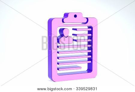 Purple Clipboard with resume icon isolated on white background. CV application. Curriculum vitae, job application form with profile photo. 3d illustration 3D render stock photo