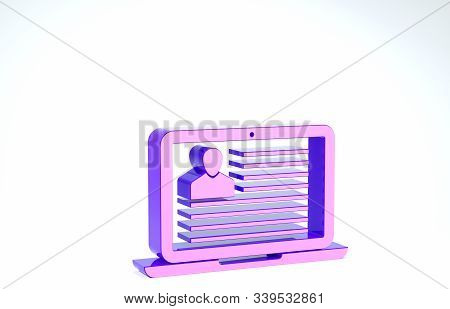 Purple Laptop with resume icon isolated on white background. CV application. Searching professional staff. Analyzing personnel resume. 3d illustration 3D render stock photo