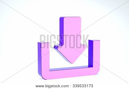 Purple Download icon isolated on white background. Upload button. Load symbol. Arrow point to down. 3d illustration 3D render stock photo