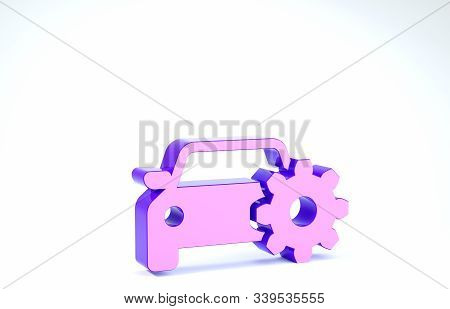 Purple Car service icon isolated on white background. Auto mechanic service. Mechanic service. Repair service auto mechanic. Maintenance sign. 3d illustration 3D render stock photo