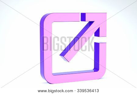 Purple Open in new window icon isolated on white background. Open another tab button sign. Browser frame symbol. External link sign. 3d illustration 3D render stock photo