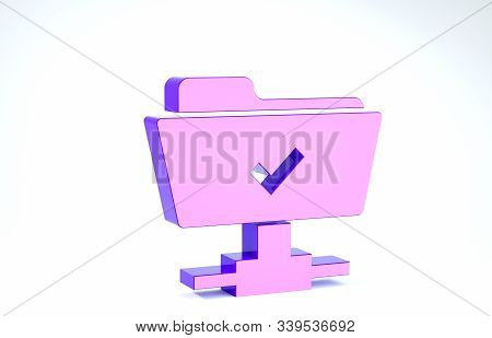Purple FTP operation successful icon isolated on white background. Software update, transfer protocol, teamwork tool management, copy process. 3d illustration 3D render stock photo