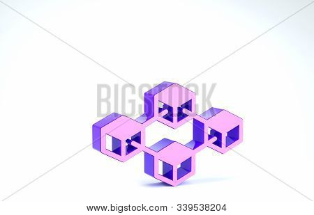 Purple Blockchain technology icon isolated on white background. Cryptocurrency data. Abstract geometric block chain network technology business. 3d illustration 3D render stock photo