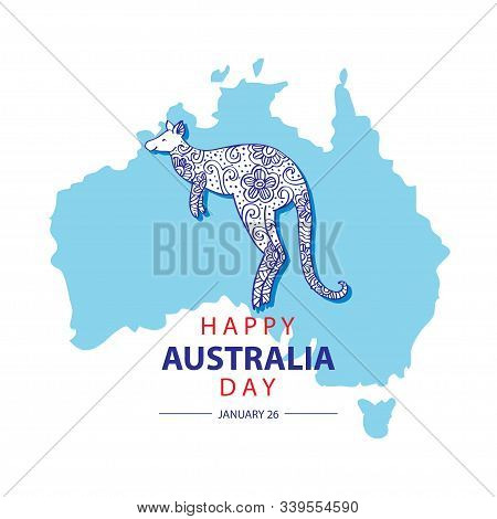 Australia Day with map of Australia an kangaroo. 26 January Happy Australia Day. Greeting card. stock photo