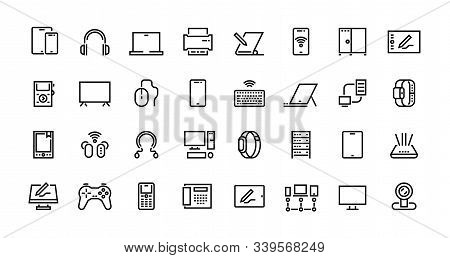 Computers line icons. Desktop PC, laptop and network station pictograms, tablet computer and electronic hardware. Vector set icon mobile devices and pictograms computing equipment stock photo
