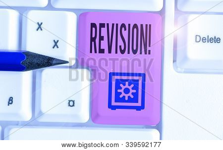 Word writing text Revision. Business concept for action of revising over someone like auditing or accounting. stock photo
