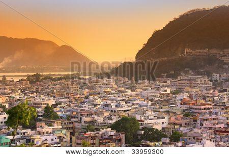 South Indian city Vijayawada under evening sun light stock photo