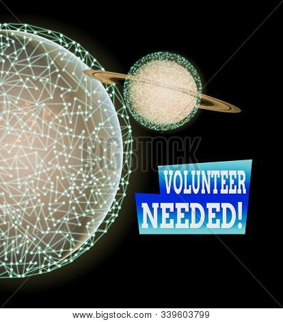Word writing text Volunteer Needed. Business concept for asking demonstrating to work for organization without being paid Elements of this image furnished by NASA. stock photo