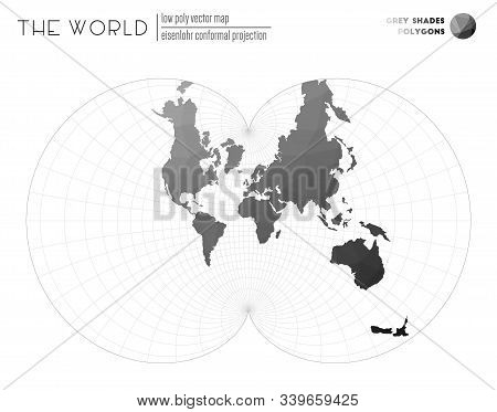 Polygonal Map Of The World. Eisenlohr Conformal Projection Of The World. Grey Shades Colored Polygon