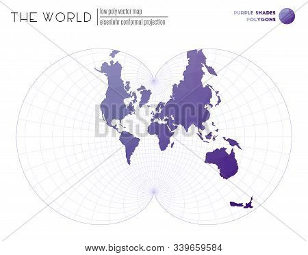 Abstract Geometric World Map. Eisenlohr Conformal Projection Of The World. Purple Shades Colored Pol
