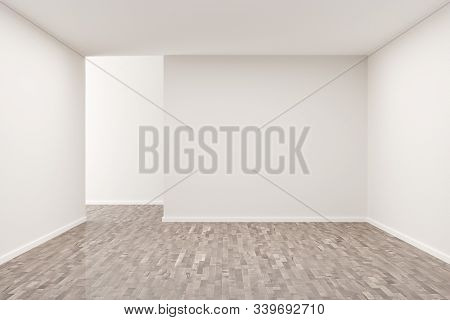 Empty white room with blank walls and brown hardwood floor - presentation or gallery architecture background element, 3D illustration stock photo