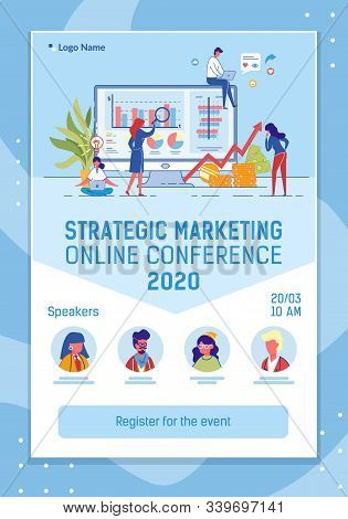 Online Conference Mobile Web Banner Flat Template. Strategic Marketing Annual Report Landing Page Vertical Cartoon Vector Layout. Webinar, Presentation. Business Event Internet Invitation stock photo