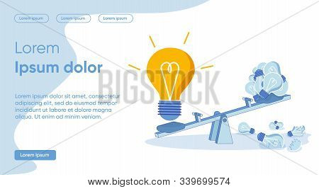 Banner Game Pushes for Unusual Decisions, Cartoon. In Center is Swing. Luminous Bulb Sits on Swing and Outweighs in Weight. On other Hand, on Swing Seat, there are Dim Lights, Slide. stock photo