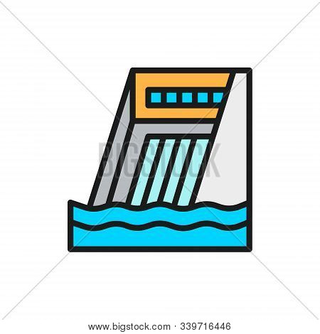 Water dam, hydro power plant, hydroelectric station flat color line icon. stock photo