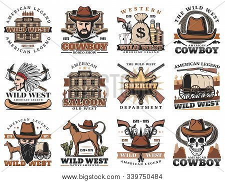 American Western icons, rodeo show and cowboy saloon, bandit revolver and Indian chief. Vector Wild West signs of sheriff star, horse lasso and longhorn bull skull, bandit revolver gun and stagecoach stock photo